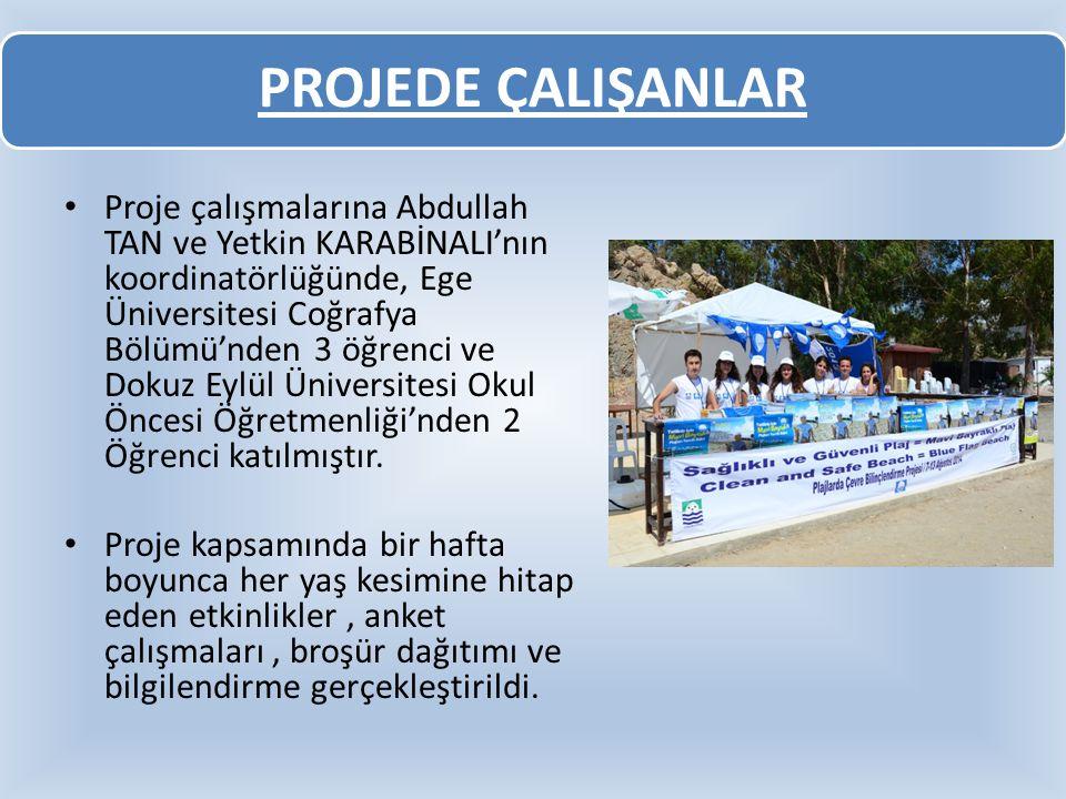 PROJEDE ÇALIŞANLAR Proje çalışmalarına Abdullah TAN ve Yetkin KARABİNALI'nın koordinatörlüğünde, Ege Üniversitesi Coğrafya Bölümü'nden 3 öğrenci ve Do