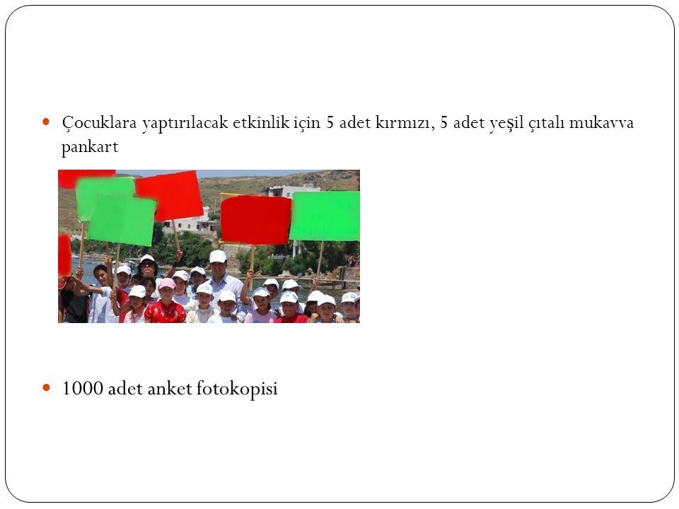 Çocuklara yaptırılacak etkinlik için 5 adet kırmızı, 5 adet ye ş il çıtalı mukavva pankart 1000 adet anket fotokopisi