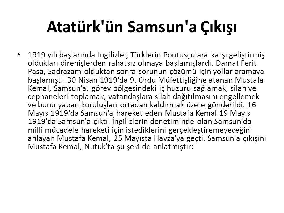 1919 yılı başlarında İngilizler, Türklerin Pontusçulara karşı geliştirmiş oldukları direnişlerden rahatsız olmaya başlamışlardı. Damat Ferit Paşa, Sad
