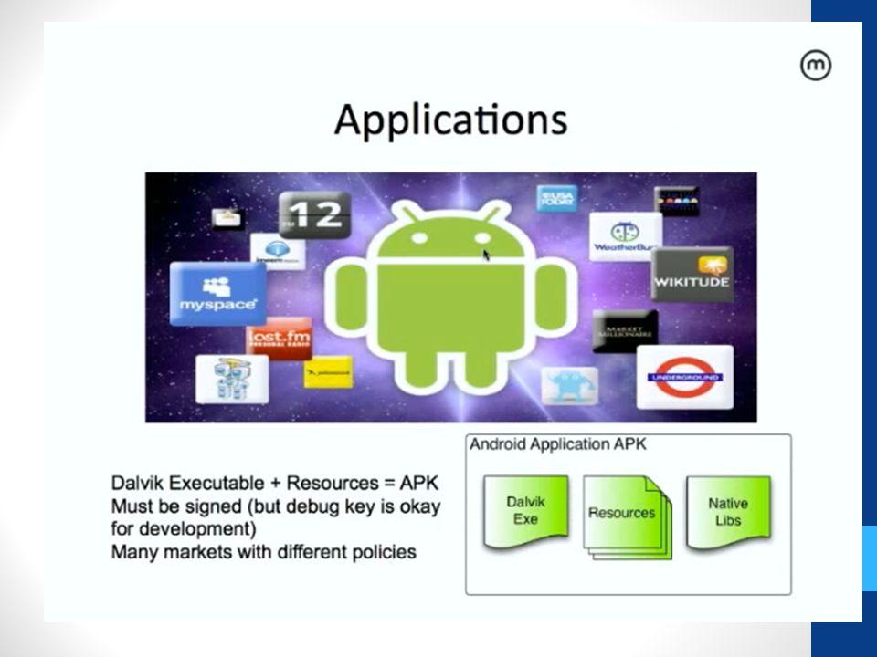 App Dağıtımı Bir markette dağıtılabilir Google Play – aka Google Market-- once 25$ Amazon Android Market Başka marketler (cisco CsTablet enterprise market) Butik marketlet çıkacak Side Loading USB, mail, (unknown source izin verilmeli) Internal App Directory
