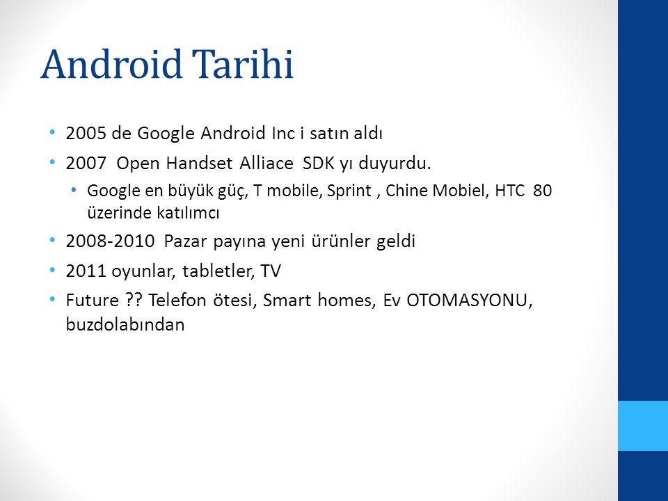 Android Tarihi 2005 de Google Android Inc i satın aldı 2007 Open Handset Alliace SDK yı duyurdu. Google en büyük güç, T mobile, Sprint, Chine Mobiel,