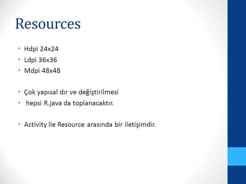 Resources Hdpi 24x24 Ldpi 36x36 Mdpi 48x48 Çok yapısal dır ve değiştirilmesi hepsi R.java da toplanacaktır. Activity ile Resource arasında bir iletişi