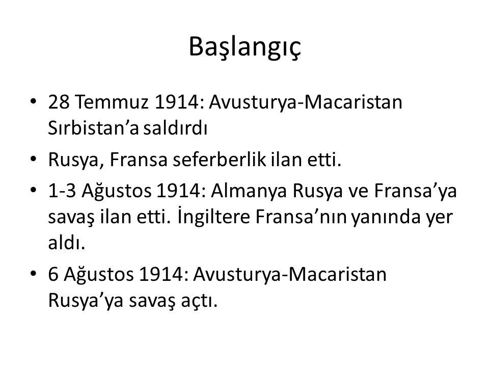Başlangıç 28 Temmuz 1914: Avusturya-Macaristan Sırbistan'a saldırdı Rusya, Fransa seferberlik ilan etti.