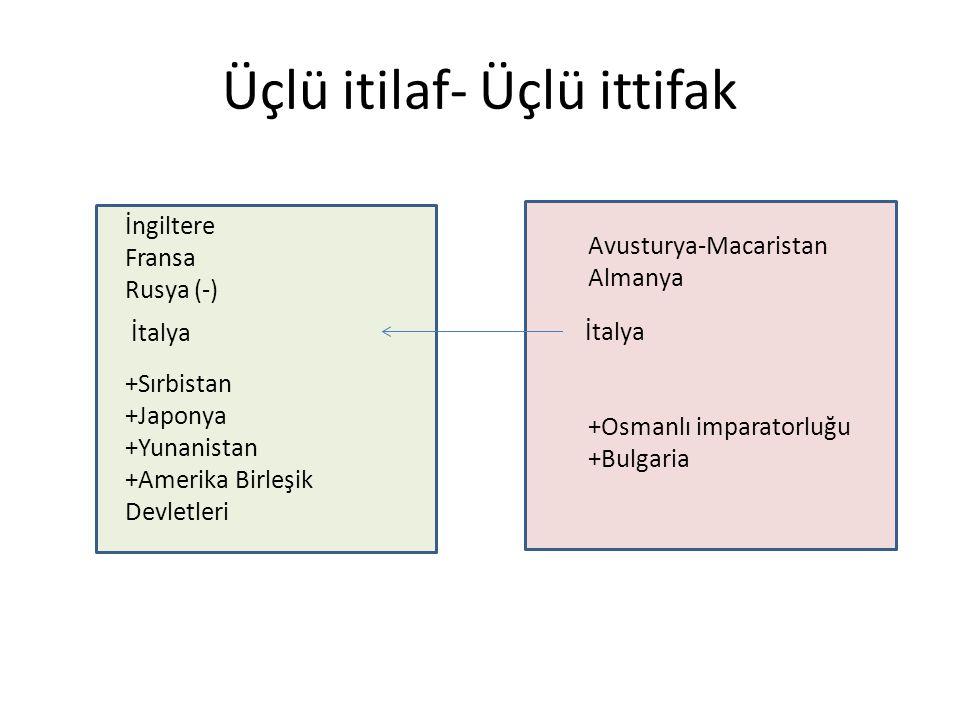 Üçlü itilaf- Üçlü ittifak İngiltere Fransa Rusya (-) Avusturya-Macaristan Almanya İtalya +Osmanlı imparatorluğu +Bulgaria +Sırbistan +Japonya +Yunanistan +Amerika Birleşik Devletleri