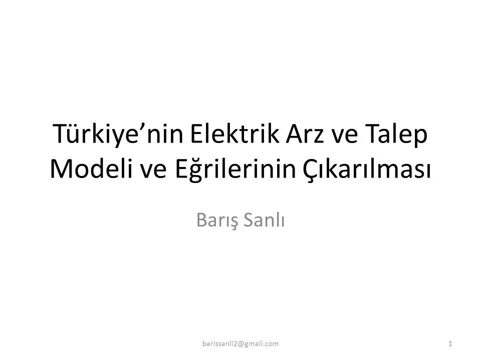 Türkiye'nin Elektrik Arz ve Talep Modeli ve Eğrilerinin Çıkarılması Barış Sanlı 1barissanli2@gmail.com