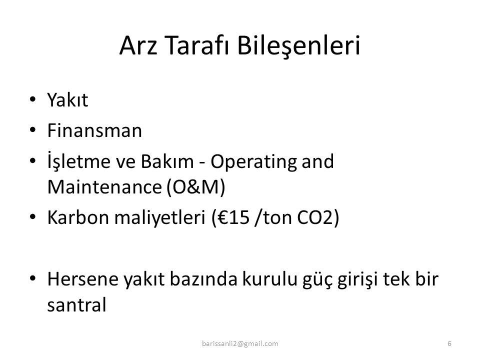 Arz Tarafı Bileşenleri Yakıt Finansman İşletme ve Bakım - Operating and Maintenance (O&M) Karbon maliyetleri (€15 /ton CO2) Hersene yakıt bazında kuru