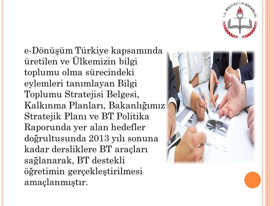 e-Dönüşüm Türkiye kapsamında üretilen ve Ülkemizin bilgi toplumu olma sürecindeki eylemleri tanımlayan Bilgi Toplumu Stratejisi Belgesi, Kalkınma Planları, Bakanlığımız Stratejik Planı ve BT Politika Raporunda yer alan hedefler doğrultusunda 2013 yılı sonuna kadar dersliklere BT araçları sağlanarak, BT destekli öğretimin gerçekleştirilmesi amaçlanmıştır.