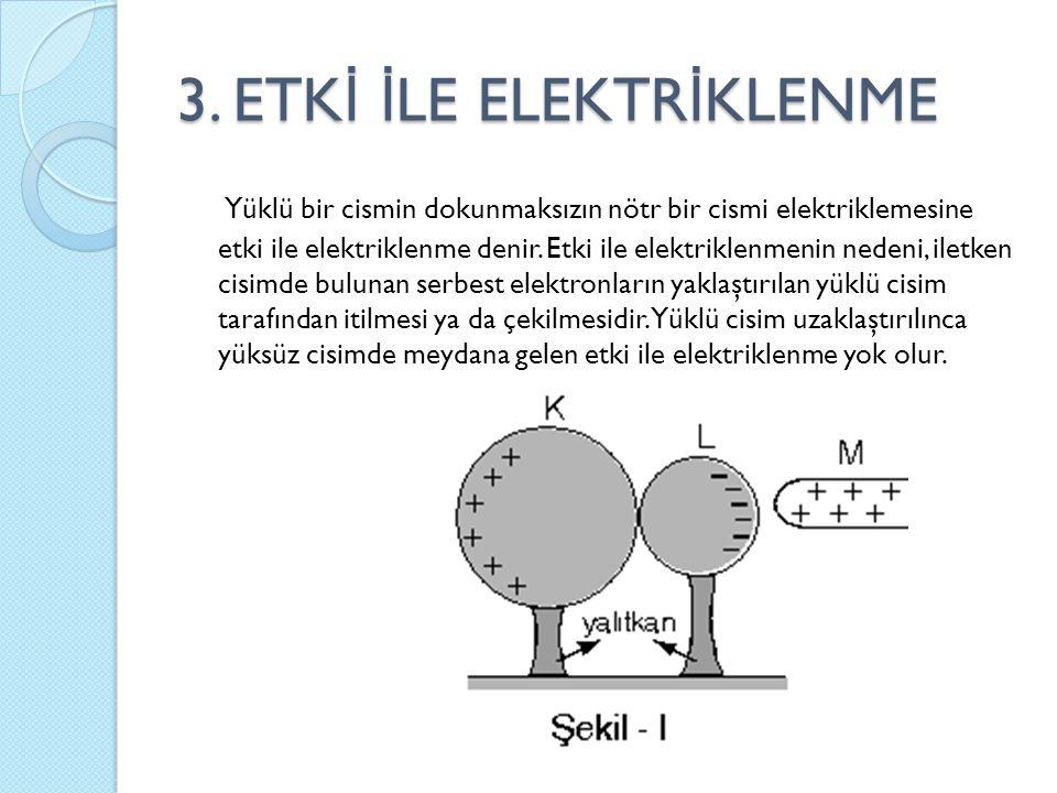 3. ETK İ İ LE ELEKTR İ KLENME Yüklü bir cismin dokunmaksızın nötr bir cismi elektriklemesine etki ile elektriklenme denir. Etki ile elektriklenmenin n