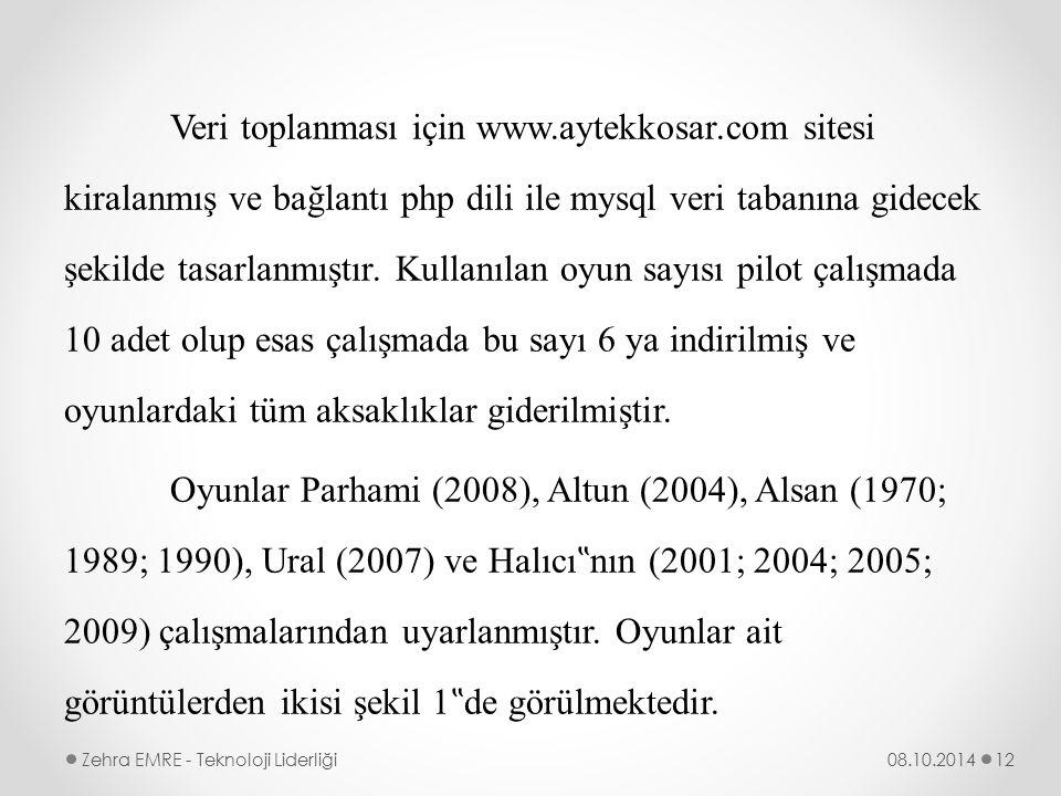 Veri toplanması için www.aytekkosar.com sitesi kiralanmış ve bağlantı php dili ile mysql veri tabanına gidecek şekilde tasarlanmıştır. Kullanılan oyun