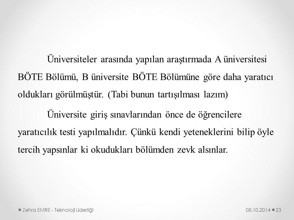 Üniversiteler arasında yapılan araştırmada A üniversitesi BÖTE Bölümü, B üniversite BÖTE Bölümüne göre daha yaratıcı oldukları görülmüştür. (Tabi bunu