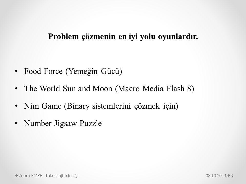 Problem çözmenin en iyi yolu oyunlardır. Food Force (Yemeğin Gücü) The World Sun and Moon (Macro Media Flash 8) Nim Game (Binary sistemlerini çözmek i