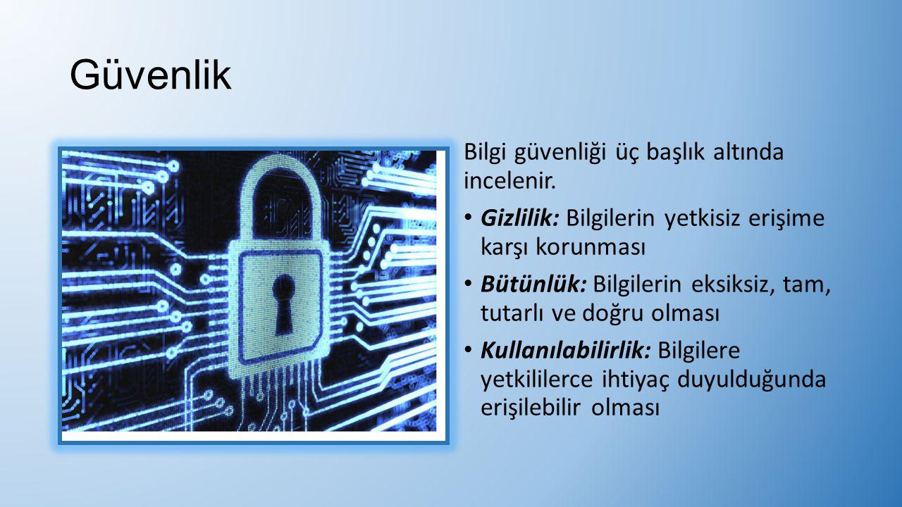 Güvenlik Bilgi güvenliği üç başlık altında incelenir. Gizlilik: Bilgilerin yetkisiz erişime karşı korunması Bütünlük: Bilgilerin eksiksiz, tam, tutarl