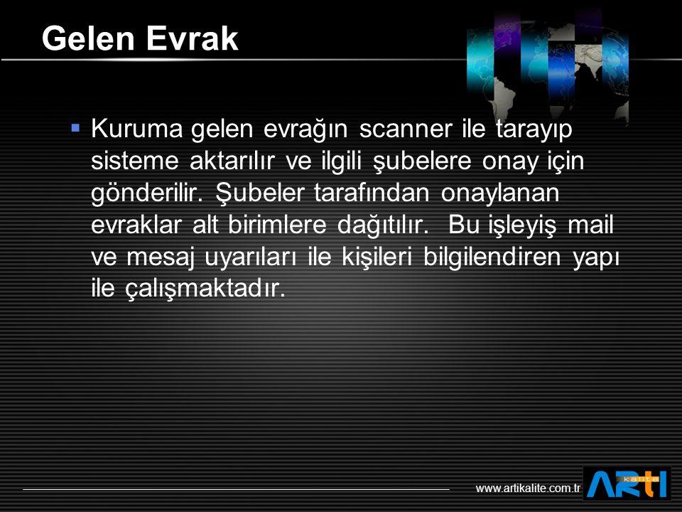 LOGO www.artikalite.com.tr Gelen Evrak  Kuruma gelen evrağın scanner ile tarayıp sisteme aktarılır ve ilgili şubelere onay için gönderilir.