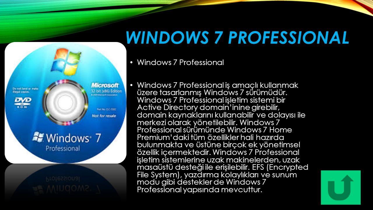 WINDOWS 7 PROFESSIONAL Windows 7 Professional Windows 7 Professional iş amaçlı kullanmak üzere tasarlanmış Windows 7 sürümüdür. Windows 7 Professional