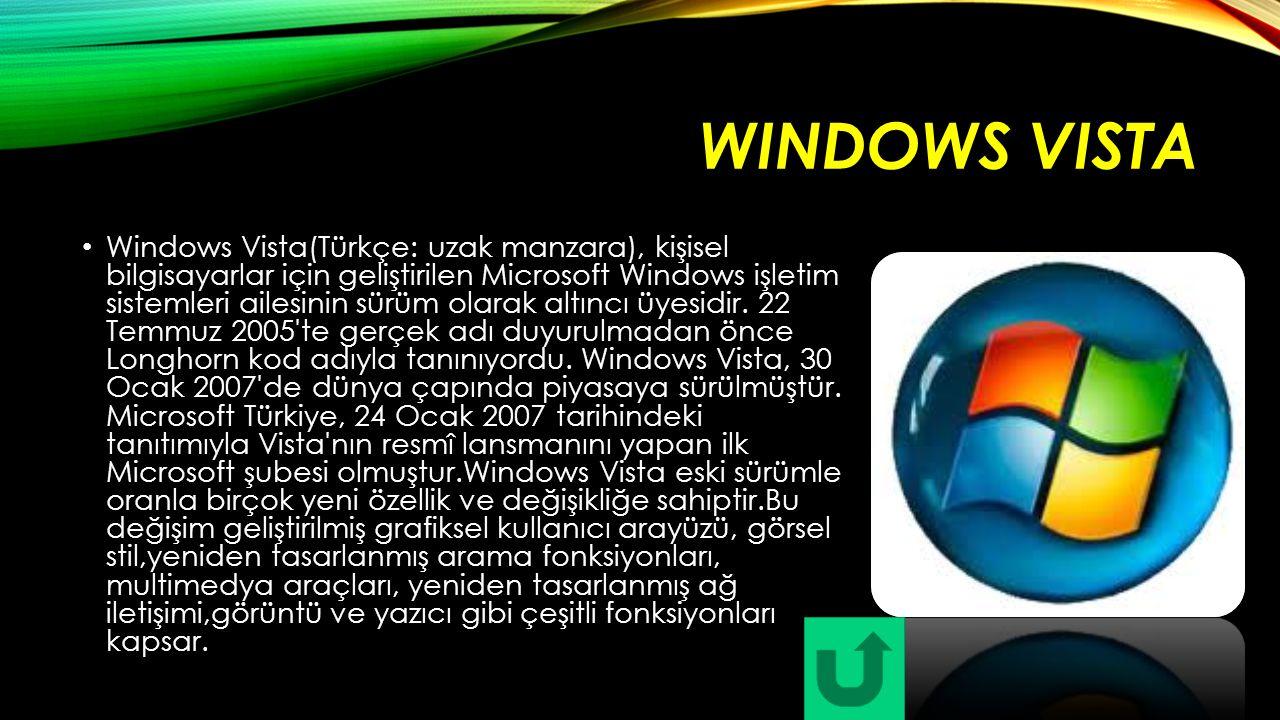 WINDOWS VISTA Windows Vista(Türkçe: uzak manzara), kişisel bilgisayarlar için geliştirilen Microsoft Windows işletim sistemleri ailesinin sürüm olarak