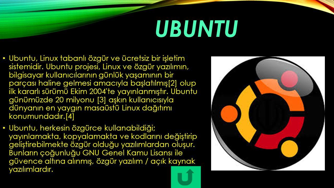 UBUNTU Ubuntu, Linux tabanlı özgür ve ücretsiz bir işletim sistemidir. Ubuntu projesi, Linux ve özgür yazılımın, bilgisayar kullanıcılarının günlük ya
