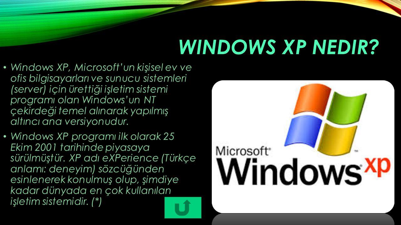 WINDOWS XP NEDIR? Windows XP, Microsoft'un kişisel ev ve ofis bilgisayarları ve sunucu sistemleri (server) için ürettiği işletim sistemi programı olan