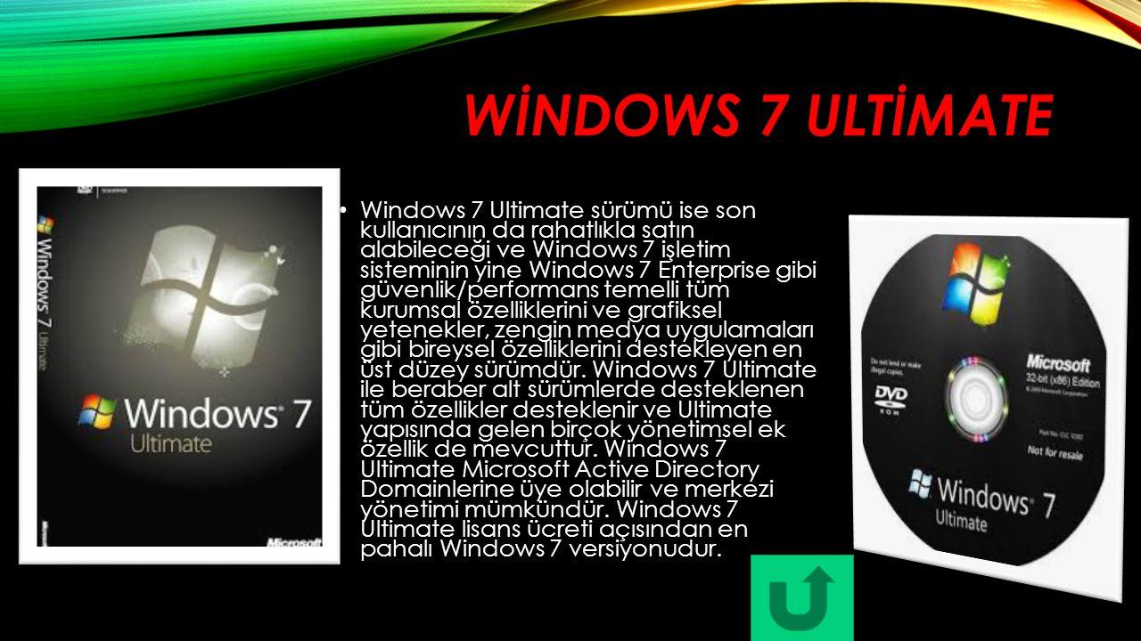 WİNDOWS 7 ULTİMATE Windows 7 Ultimate sürümü ise son kullanıcının da rahatlıkla satın alabileceği ve Windows 7 işletim sisteminin yine Windows 7 Enter