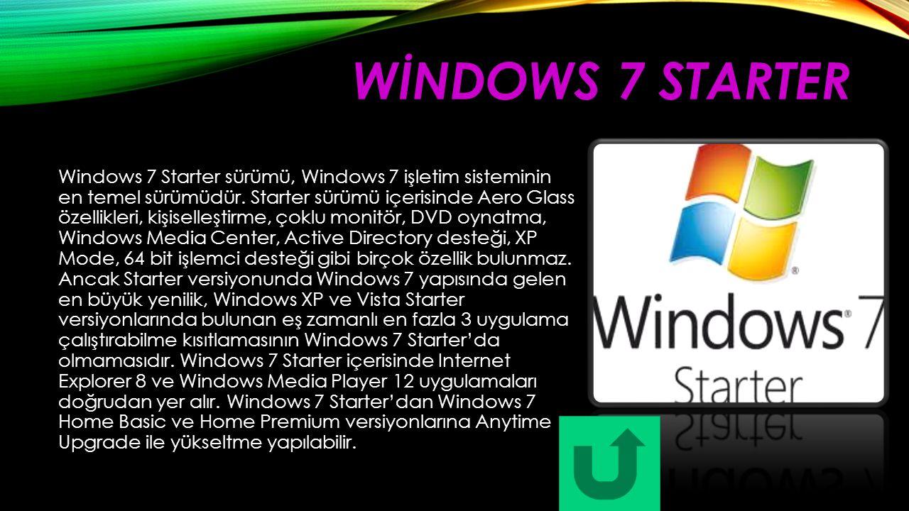 WİNDOWS 7 STARTER Windows 7 Starter sürümü, Windows 7 işletim sisteminin en temel sürümüdür. Starter sürümü içerisinde Aero Glass özellikleri, kişisel