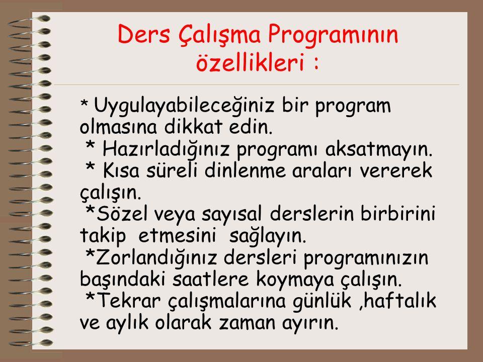 Ders Çalışma Programının özellikleri : * Uygulayabileceğiniz bir program olmasına dikkat edin.