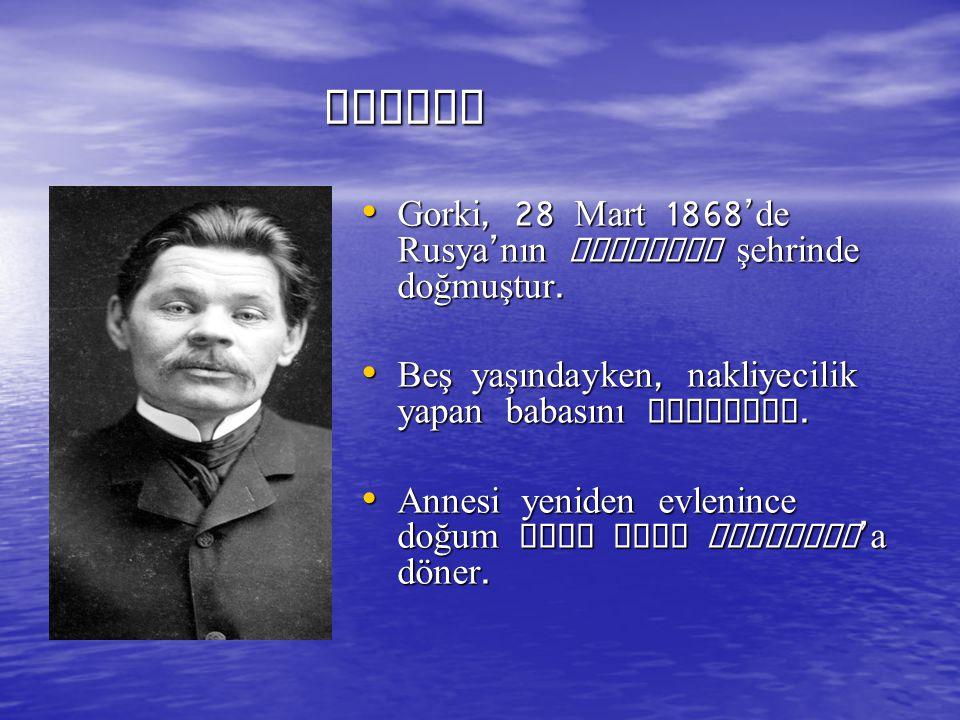 ESERLERİ ROMAN ESERLERİ ROMAN Foma (1899, 1983) Ana (1906, 1979) Halk Düşmanı (1907) (Türkçeye Yararsız Bir Adam adıyla 1979 ) Matveya Kojemyakin (1910, 1984) Klim Samgin in Hayatı (1936, 1975) Artamonovlar (1977) Küçük Burjuvalar (1901, 1967) Arkadaş Fırtınanın Habercisi