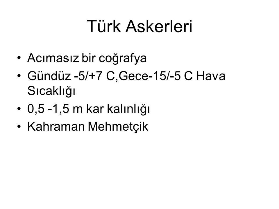 Türk Askerleri Acımasız bir coğrafya Gündüz -5/+7 C,Gece-15/-5 C Hava Sıcaklığı 0,5 -1,5 m kar kalınlığı Kahraman Mehmetçik