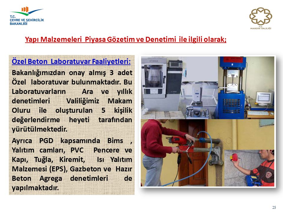 25 Yapı Malzemeleri Piyasa Gözetim ve Denetimi ile ilgili olarak; Özel Beton Laboratuvar Faaliyetleri: Bakanlığımızdan onay almış 3 adet Özel laboratuvar bulunmaktadır.