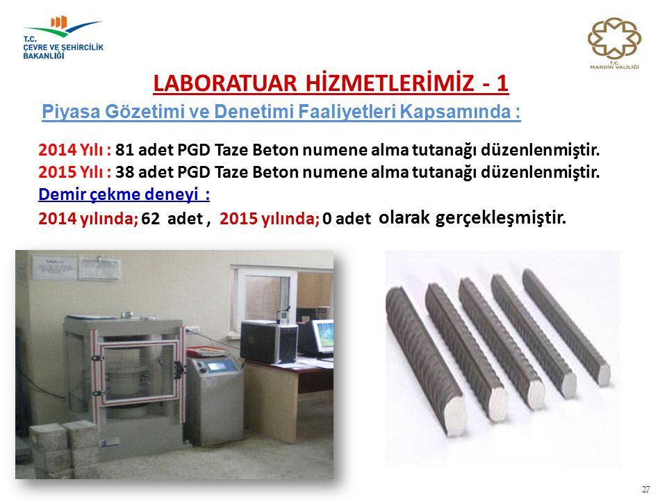 LABORATUAR HİZMETLERİMİZ - 1 27 Piyasa Gözetimi ve Denetimi Faaliyetleri Kapsamında : 2014 Yılı : 81 adet PGD Taze Beton numene alma tutanağı düzenlen