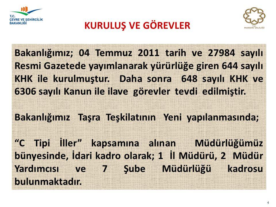 4 KURULUŞ VE GÖREVLER Bakanlığımız; 04 Temmuz 2011 tarih ve 27984 sayılı Resmi Gazetede yayımlanarak yürürlüğe giren 644 sayılı KHK ile kurulmuştur. D
