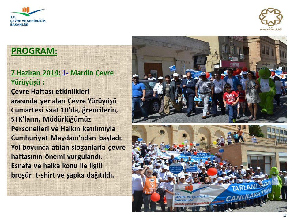 PROGRAM: 7 Haziran 2014: 1- Mardin Çevre Yürüyüşü : Çevre Haftası etkinlikleri arasında yer alan Çevre Yürüyüşü Cumartesi saat 10'da, ğrencilerin, STK