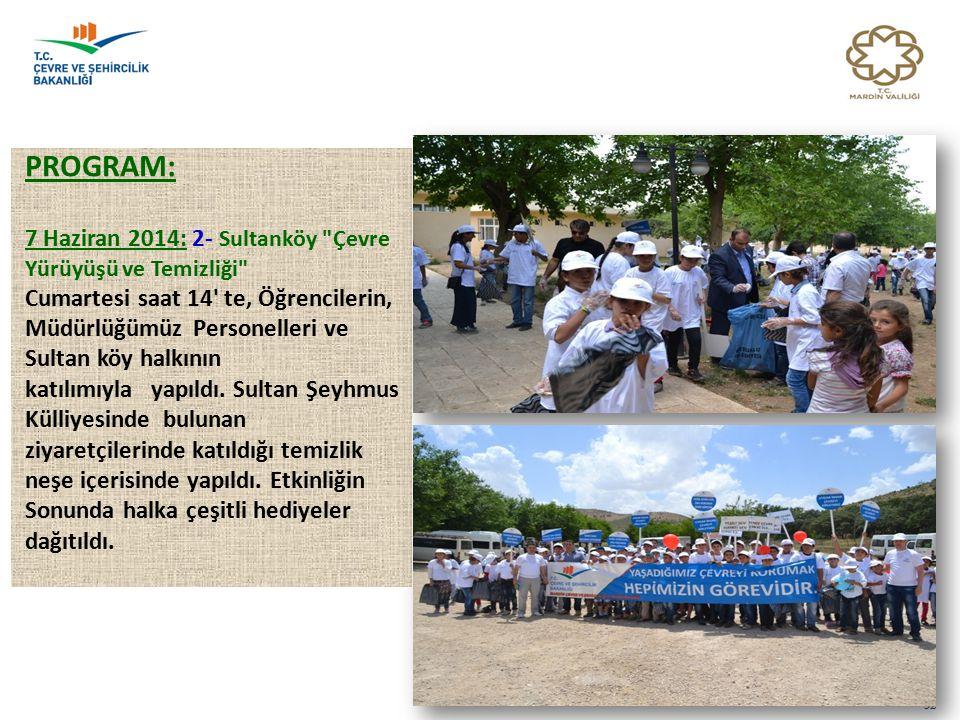 PROGRAM: 7 Haziran 2014: 2- Sultanköy Çevre Yürüyüşü ve Temizliği Cumartesi saat 14 te, Öğrencilerin, Müdürlüğümüz Personelleri ve Sultan köy halkının katılımıyla yapıldı.