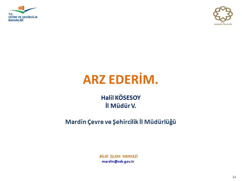 54 ARZ EDERİM.Halil KÖSESOY İl Müdür V.