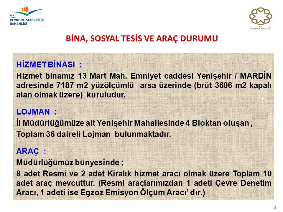 8 BİNA, SOSYAL TESİS VE ARAÇ DURUMU HİZMET BİNASI : Hizmet binamız 13 Mart Mah. Emniyet caddesi Yenişehir / MARDİN adresinde 7187 m2 yüzölçümlü arsa ü