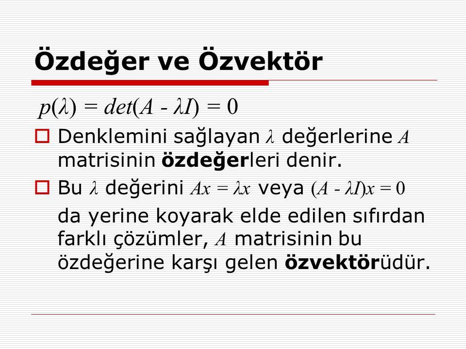 Özdeğer ve Özvektör p(λ) = det(A - λI) = 0  Denklemini sağlayan λ değerlerine A matrisinin özdeğerleri denir.