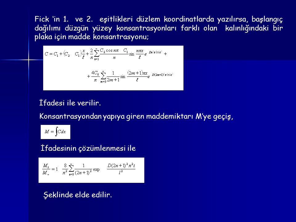 Fick 'in 1. ve 2. eşitlikleri düzlem koordinatlarda yazılırsa, başlangıç dağılımı düzgün yüzey konsantrasyonları farklı olan kalınlığındaki bir plaka
