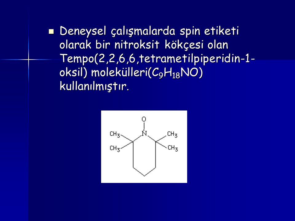 Deneysel çalışmalarda spin etiketi olarak bir nitroksit kökçesi olan Tempo(2,2,6,6,tetrametilpiperidin-1- oksil) molekülleri(C 9 H 18 NO) kullanılmışt