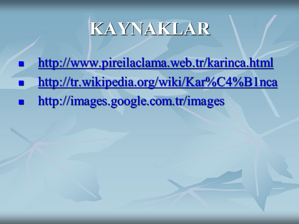 KAYNAKLAR http://www.pireilaclama.web.tr/karinca.html http://www.pireilaclama.web.tr/karinca.html http://www.pireilaclama.web.tr/karinca.html http://tr.wikipedia.org/wiki/Kar%C4%B1nca http://tr.wikipedia.org/wiki/Kar%C4%B1nca http://tr.wikipedia.org/wiki/Kar%C4%B1nca http://images.google.com.tr/images http://images.google.com.tr/images