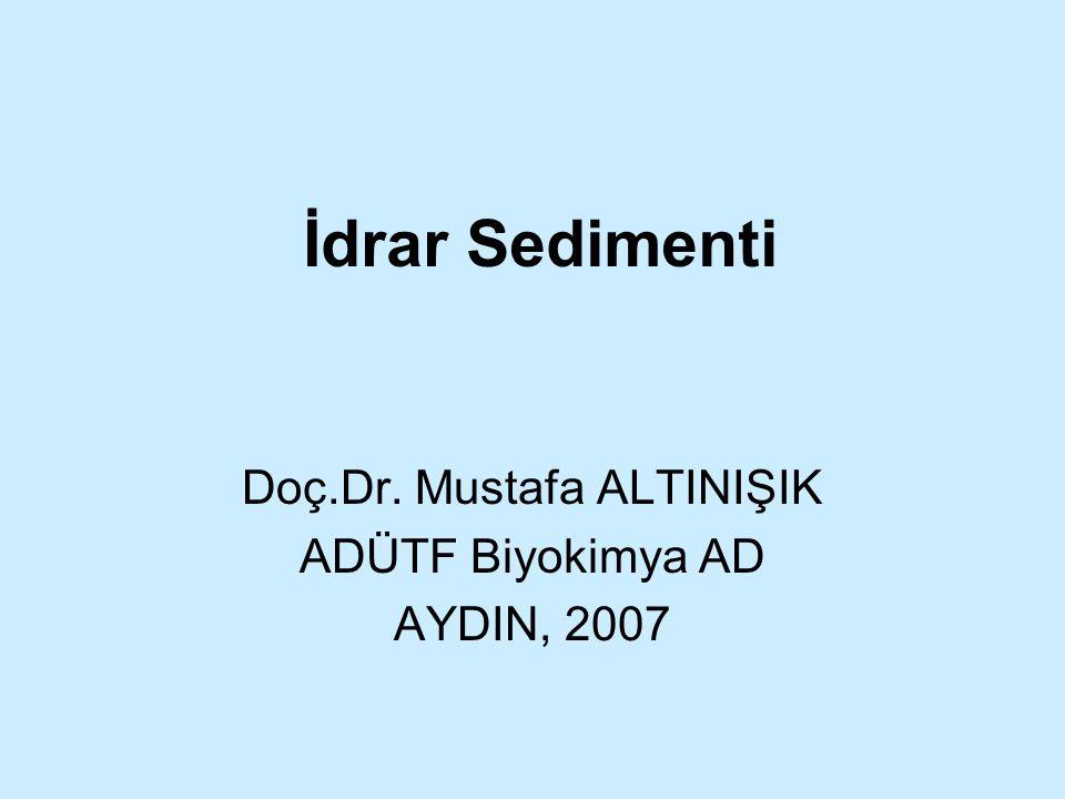 İdrar Sedimenti Doç.Dr. Mustafa ALTINIŞIK ADÜTF Biyokimya AD AYDIN, 2007