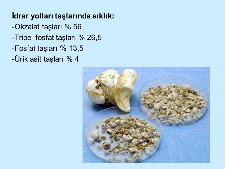 İdrar yolları taşlarında sıklık: -Okzalat taşları % 56 -Tripel fosfat taşları % 26,5 -Fosfat taşları % 13,5 -Ürik asit taşları % 4