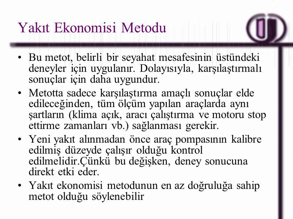 Yakıt Ekonomisi Metodu Bu metot, belirli bir seyahat mesafesinin üstündeki deneyler için uygulanır. Dolayısıyla, karşılaştırmalı sonuçlar için daha uy