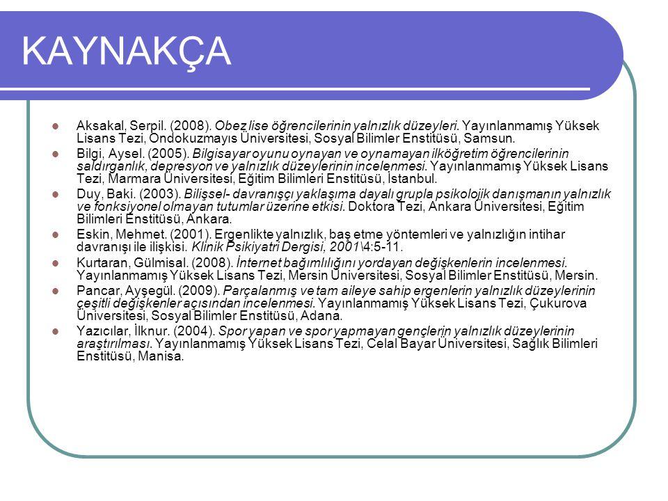 KAYNAKÇA Aksakal, Serpil. (2008). Obez lise öğrencilerinin yalnızlık düzeyleri. Yayınlanmamış Yüksek Lisans Tezi, Ondokuzmayıs Üniversitesi, Sosyal Bi