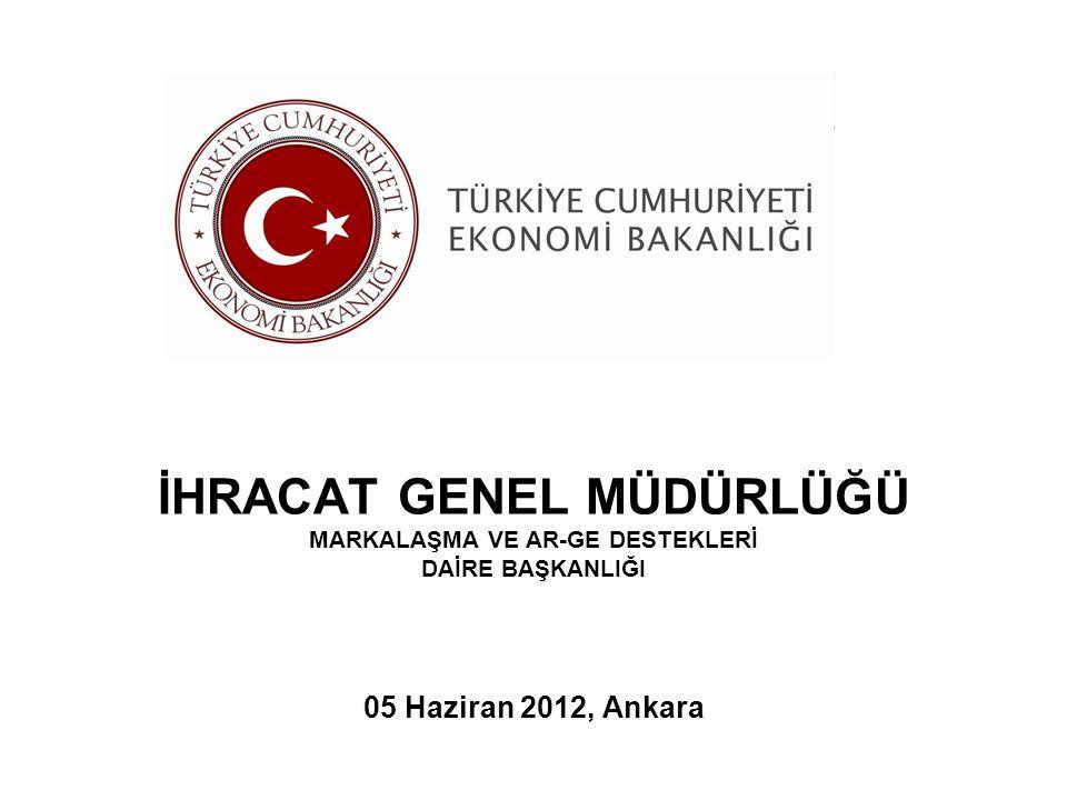 İHRACAT GENEL MÜDÜRLÜĞÜ MARKALAŞMA VE AR-GE DESTEKLERİ DAİRE BAŞKANLIĞI 05 Haziran 2012, Ankara