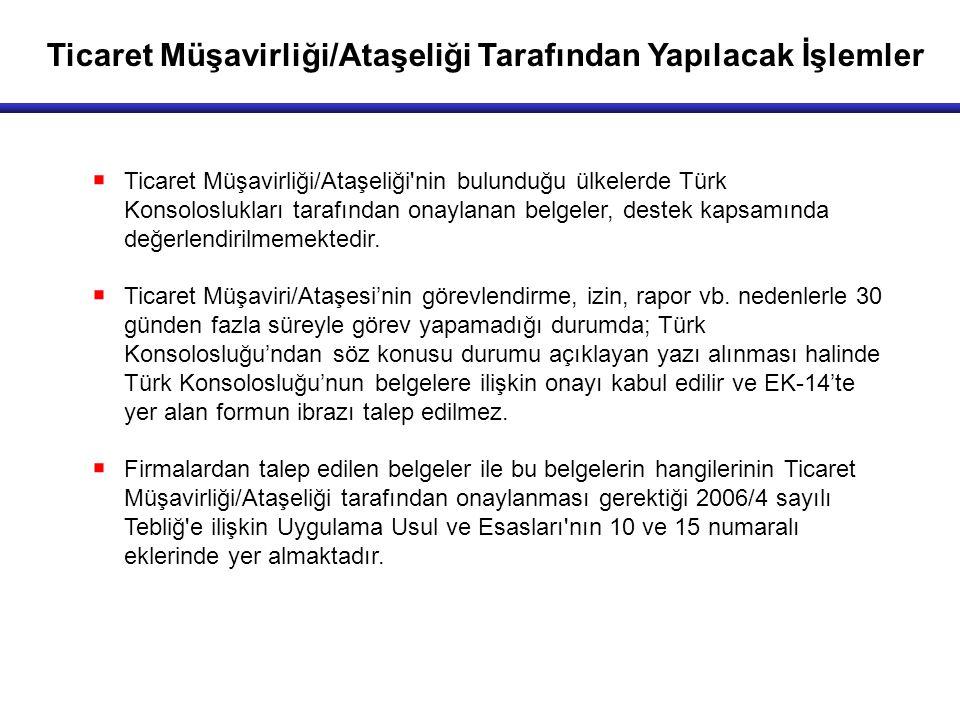 Ticaret Müşavirliği/Ataşeliği Tarafından Yapılacak İşlemler  Ticaret Müşavirliği/Ataşeliği nin bulunduğu ülkelerde Türk Konsoloslukları tarafından onaylanan belgeler, destek kapsamında değerlendirilmemektedir.