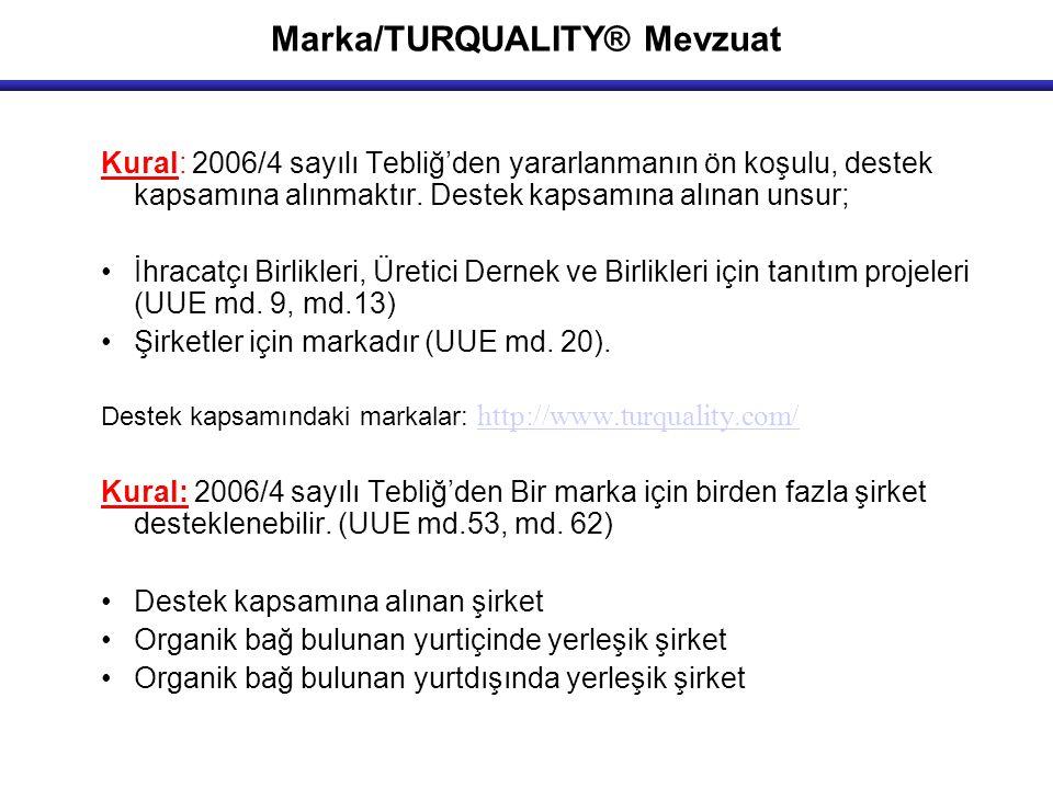 Marka/TURQUALITY® Mevzuat Kural: 2006/4 sayılı Tebliğ'den yararlanmanın ön koşulu, destek kapsamına alınmaktır. Destek kapsamına alınan unsur; İhracat