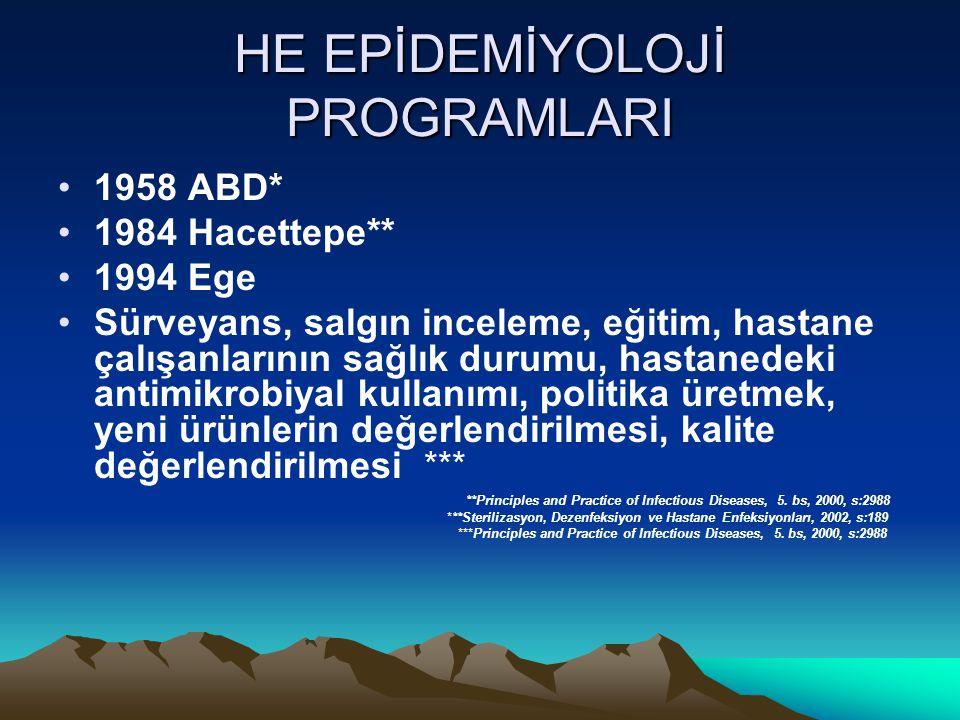 HE EPİDEMİYOLOJİ PROGRAMLARI 1958 ABD* 1984 Hacettepe** 1994 Ege Sürveyans, salgın inceleme, eğitim, hastane çalışanlarının sağlık durumu, hastanedeki antimikrobiyal kullanımı, politika üretmek, yeni ürünlerin değerlendirilmesi, kalite değerlendirilmesi *** **Principles and Practice of Infectious Diseases, 5.