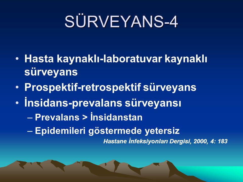 SÜRVEYANS-4 Hasta kaynaklı-laboratuvar kaynaklı sürveyans Prospektif-retrospektif sürveyans İnsidans-prevalans sürveyansı –Prevalans > İnsidanstan –Ep