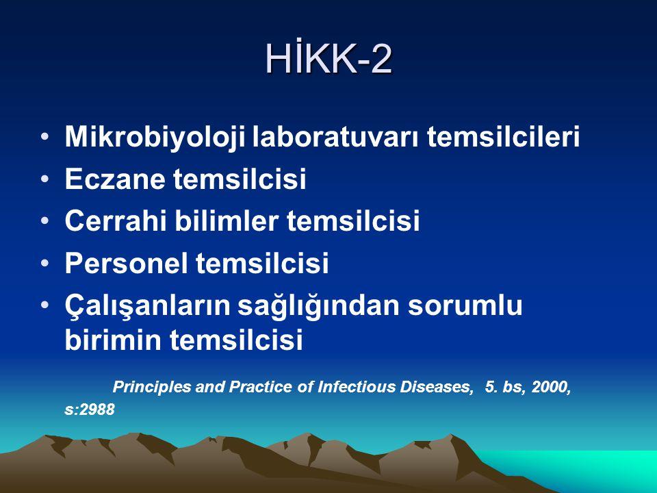 HİKK-2 Mikrobiyoloji laboratuvarı temsilcileri Eczane temsilcisi Cerrahi bilimler temsilcisi Personel temsilcisi Çalışanların sağlığından sorumlu birimin temsilcisi Principles and Practice of Infectious Diseases, 5.