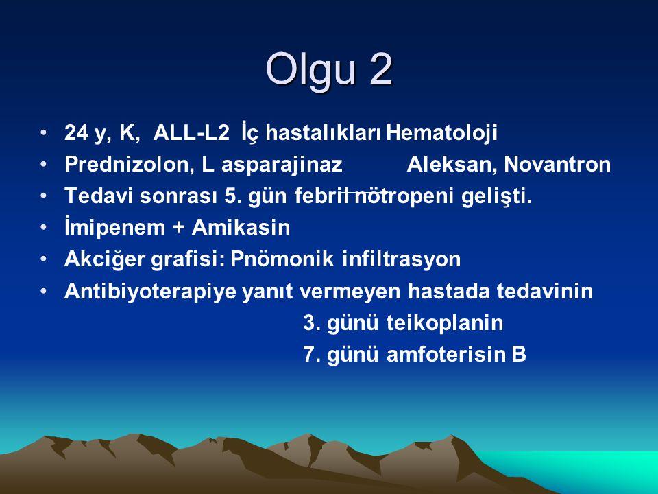 Olgu 2 24 y, K, ALL-L2 İç hastalıkları Hematoloji Prednizolon, L asparajinaz Aleksan, Novantron Tedavi sonrası 5. gün febril nötropeni gelişti. İmipen