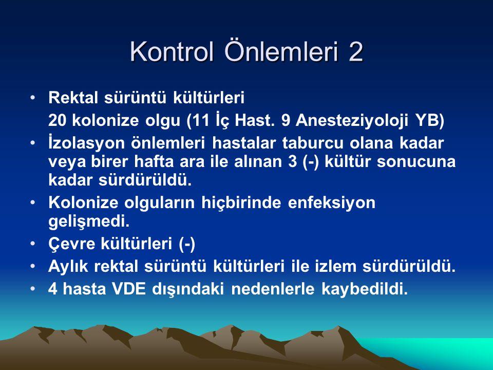 Kontrol Önlemleri 2 Rektal sürüntü kültürleri 20 kolonize olgu (11 İç Hast.