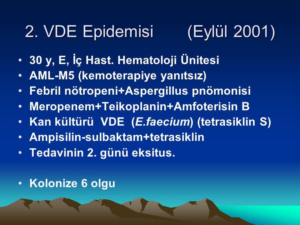 2. VDE Epidemisi (Eylül 2001) 30 y, E, İç Hast. Hematoloji Ünitesi AML-M5 (kemoterapiye yanıtsız) Febril nötropeni+Aspergillus pnömonisi Meropenem+Tei